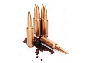 rifle-cartridges-blood-white-background-d-render-506618623